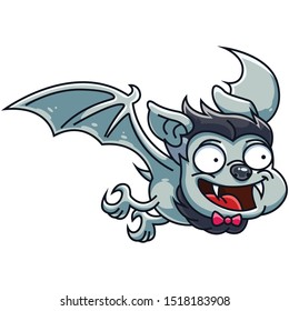 Halloween Bat. A Cute little Dracula has become a bat. Elements for you Halloween. Vector illustration in cartoon style.