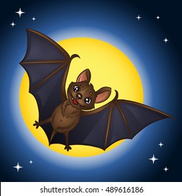 Halloween bat flying on the background of the full moon.