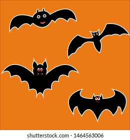 Halloween Bats in cartoon style. Pen. Vector.
