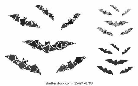 Halloween bats composition of tremulant elements in different sizes and shades, based on halloween bats icon. Vector rough elements are united into collage.