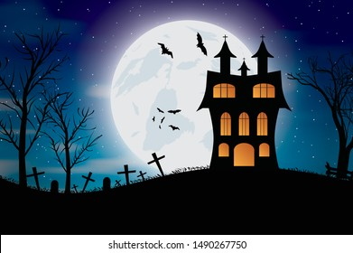 Halloween bats and dark castle on blue Moon background. Vector illustration.