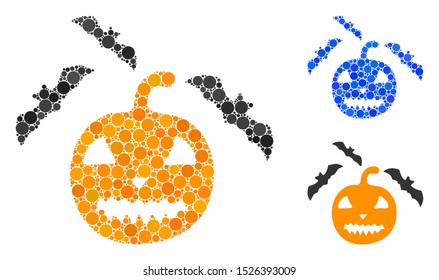 Halloween bats mosaic for halloween bats icon of circle elements in different sizes and color hues. Vector circle elements are organized into blue collage.