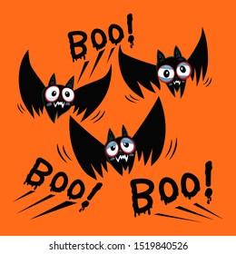 Halloween bats of halloween and the word boo, illustration vector cartoon