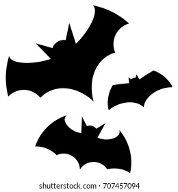 Halloween black bat icon set. Bats Silhouettes. Halloween symbol.
