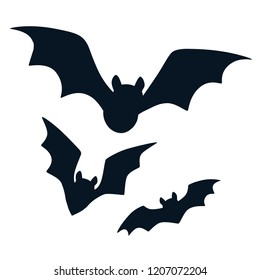 Halloween black bats flying silhouettes isolated on white. Simple bat icon vector cartoon illustration. Fall, Halloween. wildlife design element.