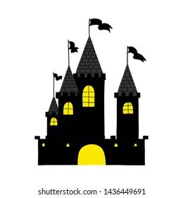 Halloween black castle with yellow windows. Vector illustration.