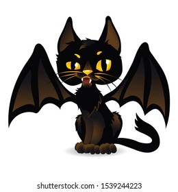 Halloween black cat with bat wings. Cartoon style. Isolated illustration on a white background.