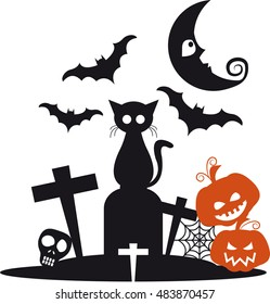 Halloween with black cat on top of a grave with bats