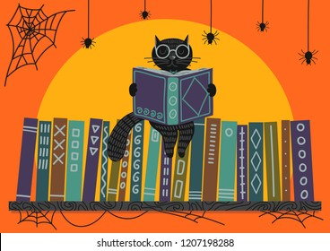 Halloween. Black cat reading book on bookshelf on orange background. Vector illustration. Perfect greeting card, banner for libraries, bookstores and educational institutions .