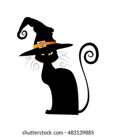 Halloween black cat. Vector animal isolated on white background. Witch cat in hat