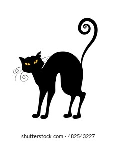 Halloween black cat with yellow eyes. Vector magic animal on white background. Cat's whiskers