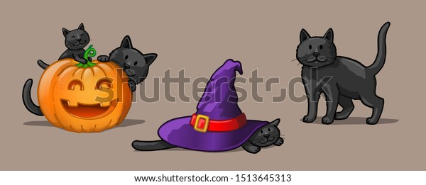 Halloween black cats. Vector Illustration