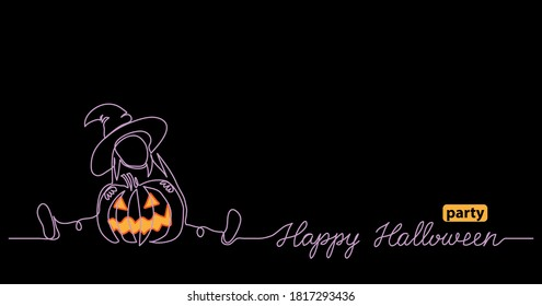 Halloween black night web banner for party notice with scary pumpkin and little witch. One continuous line vector drawing with text Happy Halloween party.