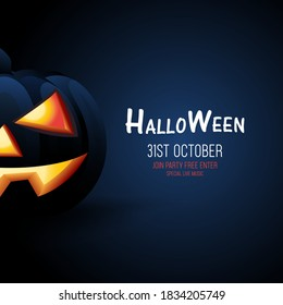 Halloween black Pumpkin on a dark blue background, Halloween banner concept design, Halloween dark style for sign, posters, flyers, post card design vector illustration templates.