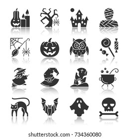Halloween black silhouette with reflection icon set. Monochrome flat design symbol collection. Simple graphic pictogram pack. Web, card, party, tag, print, logo, banner concept. Vector illustration
