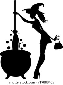 Halloween black silhouette of young sexy  witch with cauldron and broomstick isolated on white background. Vector illustration, clip art, icon.