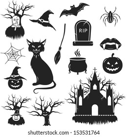 Halloween black and white icons set. vector illustration