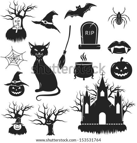 Halloween Black White Icons Set Vector Stockvector Rechtenvrij