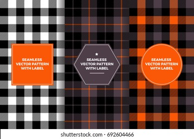 Halloween Black, White, Orange and Charcoal Gray Tartan and Gingham Plaid Seamless Patterns with Label Frame. Copy Space for Text. Set of Design Templates for Packaging, Gift Wrapping or Treat Bags.