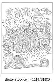 Halloween black and white vector coloring page with owl in magician hat, cat and pumpkin. Outlined pumpkin with floral pattern. Creepy cute Halloween characters. Halloween pumpkin for adult coloring