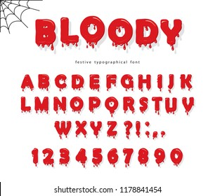 Halloween bloody font. Abc liquid letters and numbers.