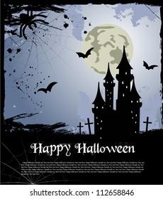 Halloween blue card. Vector illustration