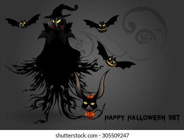 Halloween border for design, Ghosts  background with creepy castle and pumpkins, decorative elements.