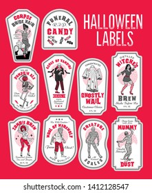Halloween Bottle Labels & Potion Labels with Monsters. Grey and Red Color Palette. Vector Illustration.