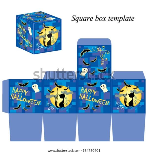 Halloween Box Template Ghost Black Cat Stock Vector (Royalty