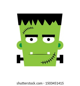 Halloween boy Frankenstein Vector illustration. Frankenstein face. Illustration for kids, card Halloween, print.