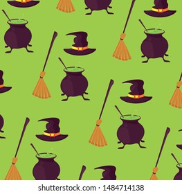 Halloween brooms and soup with witch hats background cartoons pattern ,vector illustration graphic design.