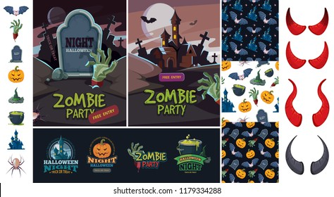 Halloween bundle art. Evil pumpkin bat symbols of horror night october zombie and witches invitation scary vector placard badges and patterns