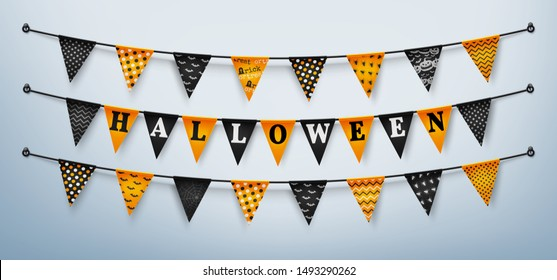 Halloween buntings for Happy Halloween.Halloween Flags Garlands with orange and black.Website spooky or banner template.Vector illustration EPS10