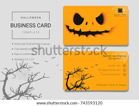 Halloween business name card design template stock vector royalty halloween business name card design template simple style also modern and elegant with creepy masks flashek Gallery