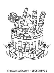 Halloween cake vector illustration cartoon. Halloween sweet and candy. Biscuit, candy corn, cookies, cake. Halloween meditation coloring page.