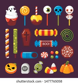 Halloween candies flat vector illustrations set. Ghost muffin, skull lollipop. Autumn holiday traditional treat. Candy corn, jack lantern caramel and casket shaped chocolate. Festive sweets pack