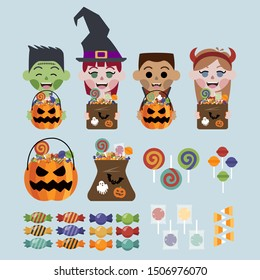 Halloween candies, pumpkin with candies, candies bag, kids with costumes and candies on blue background.
