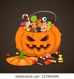 Halloween candies in pumpkin bag. Sweet lollipop candy treats for kids. Trick or treat in orange jack lantern basket, sweets and chocolate isolated children sweets cartoon vector illustration
