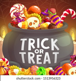 Halloween candies in witch cauldron, trick or treat vector design. Pumpkin sweets, chocolate and lollipops, jellies, gummy worms and cakes in shape of skull, bat and brains with witch hats, spider net