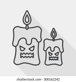 Halloween candle flat icon with long shadow, line icon