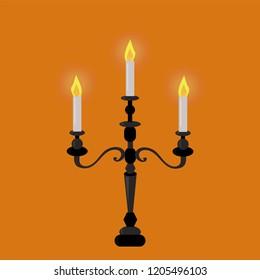 Halloween Candles vector. Candelabra