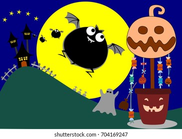 Halloween candy and bat.