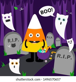 Halloween Candy Corn with purple cauldron candy bucket and white cat ghost in graves yard