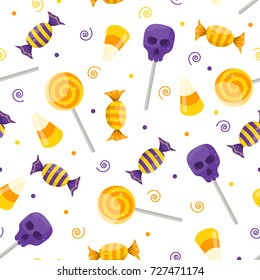 Halloween candy pattern. Vector illustration.