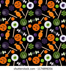 Halloween Candy Seamless Pattern - Assortment of colorful Halloween candies on solid background
