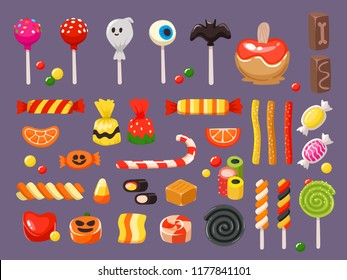 Halloween candy. Sweet candies, scary bat lollipop and kids sweets liquorice butterscotch, cupcakes and jelly treats, october trick or treat entertainment vector illustration isolated symbols set