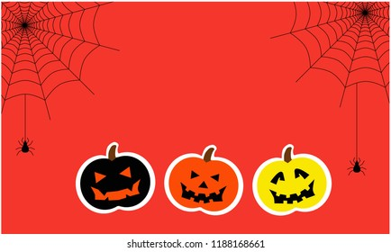 Halloween card, Colorful pumpkins cartoon and spider and web on orange background, vector.