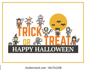 halloween card for costume party night for kid. cute cartoon character style