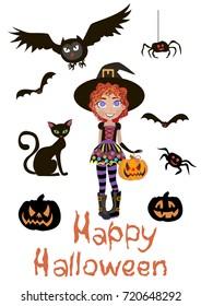 Halloween card. Dlfck cat, little witch, owl, pumpkin. Illustration