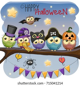 Halloween card Five owls on the branch